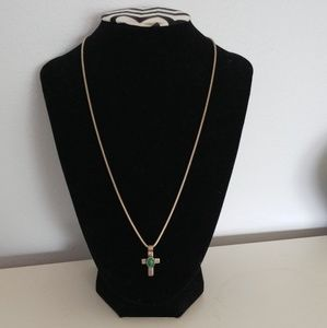 Malachite Sterling Silver Cross Pendant Necklace